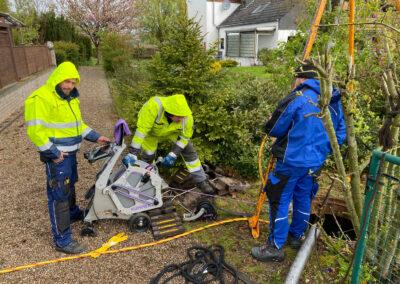 Vorbereitung Kanal für Drainagereinigung